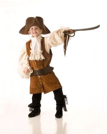 Meisje verkleed als piraat voor