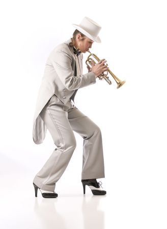 Woman playing trumpet in New Orleans style Stock Photo