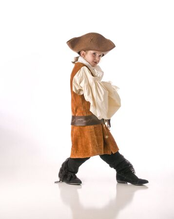 A little girl dresses as a pirate for