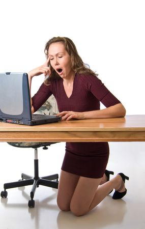 Young woman tired from computer work