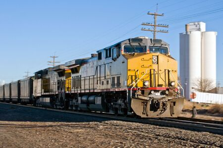 Freight train hauling coal to points south Stock Photo