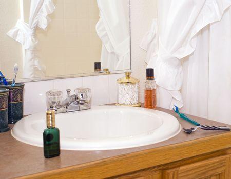 Modern bathroom sink set up for morning shave