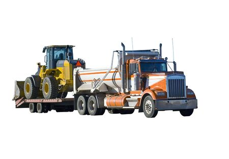 Dump truck and front loader isolated