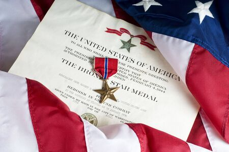 heroism: Bronze star, an American Army award for heroism in ground combat.