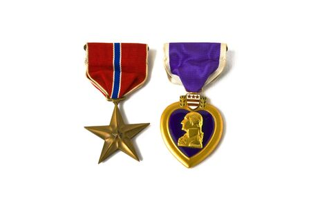 USA army medals for valor and wounds from active combat Stock Photo