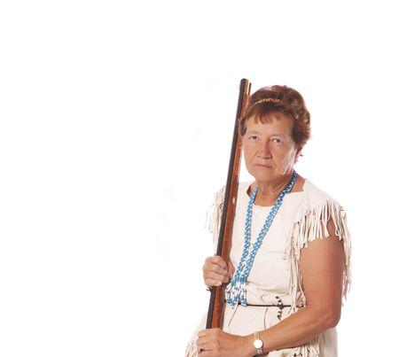 black powder: Woman posing with a black powder rifle                  Stock Photo
