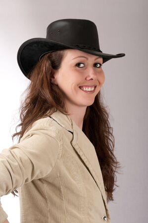 rancheros: Una hija de los ganaderos oeste americano Foto de archivo