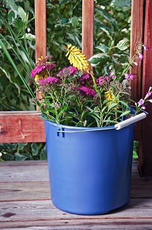 pokers: A mixture of spirea, red hot pokers, and other flowers in a bucket outside. Stock Photo