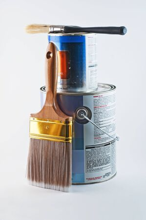 paintbucket: Two cans ready to start painting. One for the walls and one for the trim. Stock Photo