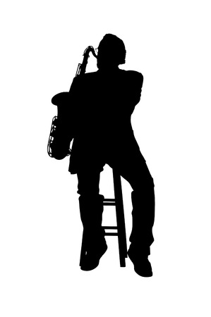 Tenor saxman playing the blues in silhouette Stock Vector - 5854104