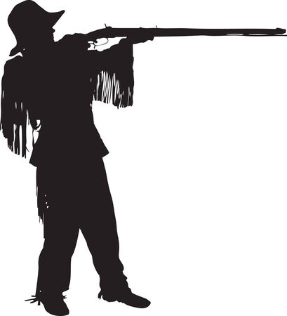 competitions: Mountain man shooting his black powder rifle in a raster silhouette.