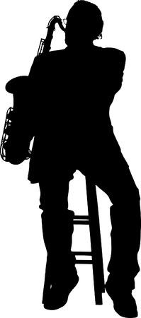 方針のサクソフォーンを演奏するミュージシャン  イラスト・ベクター素材