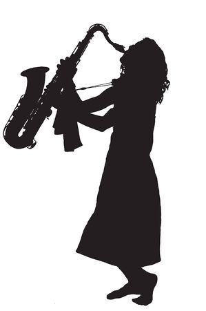 Pretty young woman playing dixieland jazz on a saxophone barefoot. Vettoriali