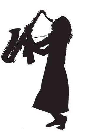 tenore: Piuttosto giovane donna giocando dixieland jazz su un sassofono a piedi nudi.