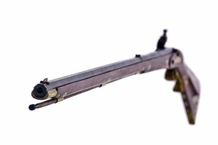 black powder: Black powder flint lock rifle with the focus on the muzzle end of the gun