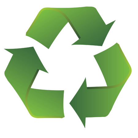 Recycle symbol with slight curvatures to show a smooth transition from use to reuse. Ilustrace