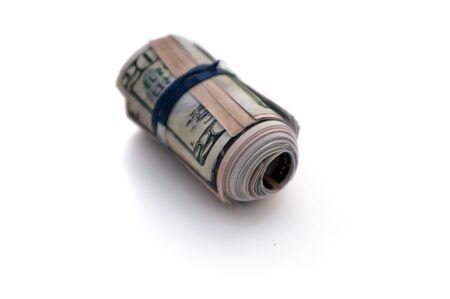 bankroll: Printed copies of American money to look like a large sum bankroll.
