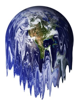 end of the world: The Earth melting Stock Photo