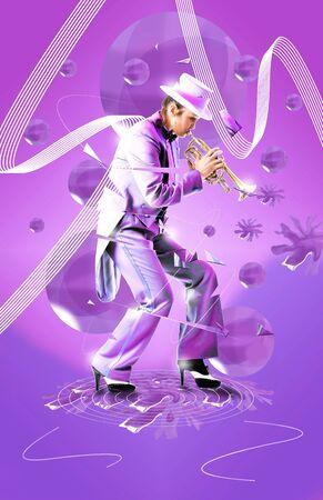 Mooie vrouw een trompet te spelen, terwijl haar lichaam van het tempo en de snelle beat verbrijzelt. Party poster of muziek advertentie.  Stockfoto - 8080327