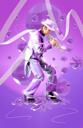 dancing club: Pretty woman playing a trumpet while her body shatters from the tempo and the fast beat. Party poster or music advertisement. Stock Photo