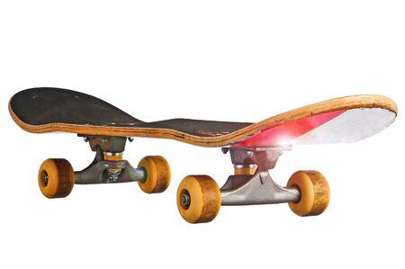 Skateboard at an oblique angle islolated  Stock Photo