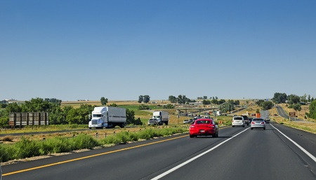 Interstate 25 running through north central Colorado farm country