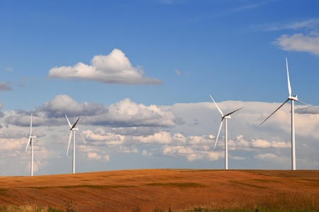 Large wind turbines gathering electricity out of the wind in eastern Colorado, USA Stock Photo - 10616149
