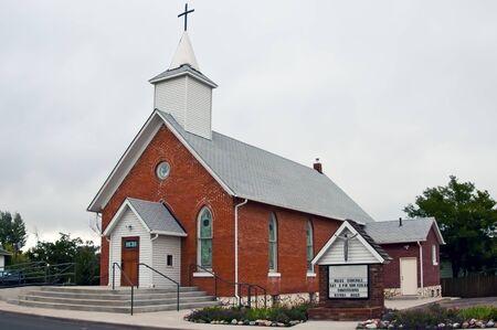 stain glass: Brick building Christian church in a rural community in rural Colorado, USA