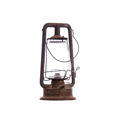 Old antique kerosene lantern isolated on white with a compound clipping path Stock Photo