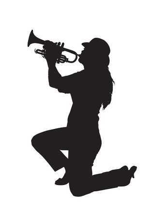 Raster silhouette of a woman kneeling while playing a trumpet.