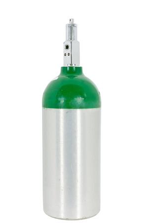 cilindro de gas: Del cilindro de ox�geno para los tratamientos m�dicos como la EPOC, el enfisema y el asma. Aislado en un fondo blanco con un trazado de recorte.