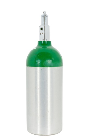 Oxygen cylinder for medical treatments such as COPD, emphysema, and asthma. Isolated on a white background with a clipping path.