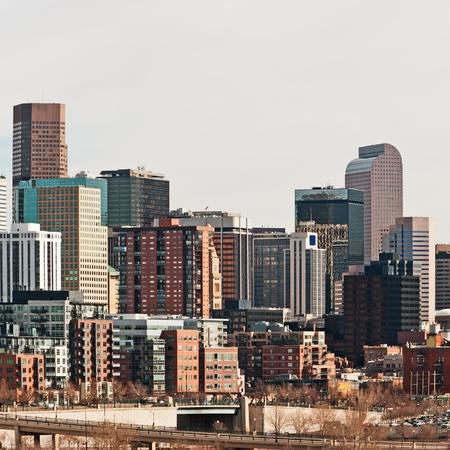 denver: Downtown Denver, Colorado USA tall buildings and businesses Stock Photo