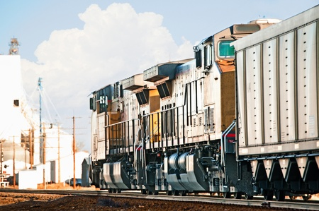 Northbound freight train returning to Wyoming through Colorado, USA with empty coal cars to be reloaded at the mines.