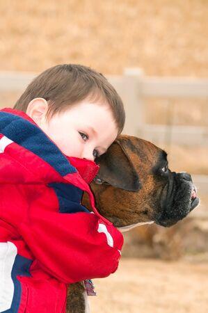 perro boxer: Niño pequeño que abraza a su mejor amigo, el boxeador mascota de la familia Después de jugar duro en el patio de atrás dos amigos se detienen a descansar