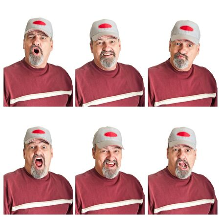 Collection of six varied expressions on a mature man isolated on white backgrounds  photo