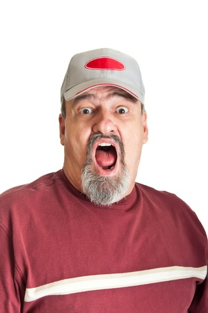 Mature male with a fearful look and his mouth wide open Stock Photo - 12751547