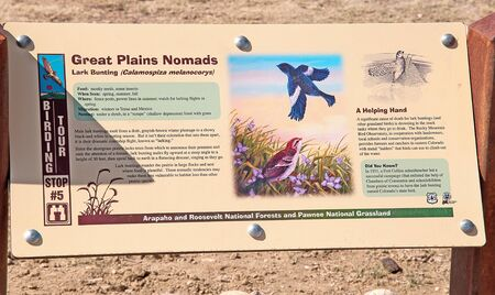 One of a series of signs placed on the Pawnee National Grassland by the US Forest Service, to explain various birds found on the open plains of northern Colorado, USA.