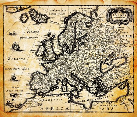 seventeenth: Seventeenth Century art Engraving Map of Europe Stock Photo