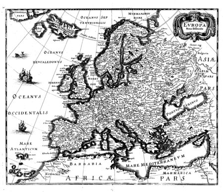 frankfurt: Engraved map of Europe from Theatrum Europaeum,  Frankfurt, 1647  by Matthaeus Merian  1645