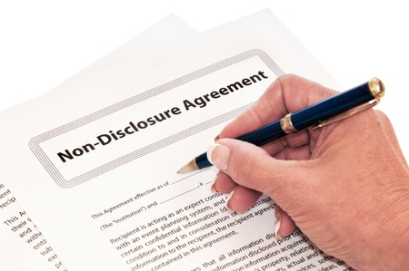 non: Confidentiality agreement for protection of company secrets. Stock Photo