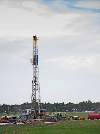 Drilling rig in central Colorado doing exploration work for natural gas.