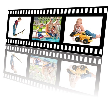 Filmstrip of summer fun activities for little boys and family  photo