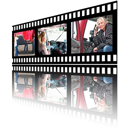 Film strip images of a woman truck driver in various stages of her job