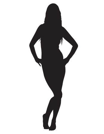 camisole: Raster silhouette of a sexy young woman in lingerie. Illustration