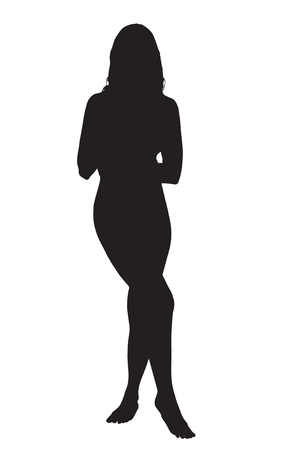 hot woman: Silhouette of a sexy young woman wearing  panties and camisole isolated against a white background Illustration
