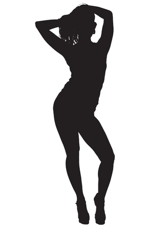 a thong: Silhouette of a sexy young woman wearing  panties and camisole isolated against a white background Illustration