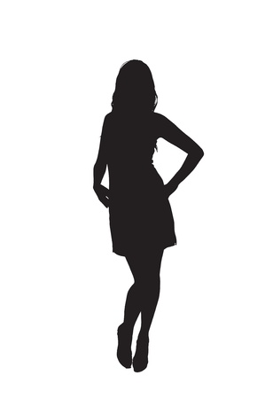 Silhouette of a sexy young woman wearing  short skirt and camisole isolated against a white background Ilustração