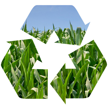Cornfield superimposed onto a recycle symbol isolated on white. Imagens
