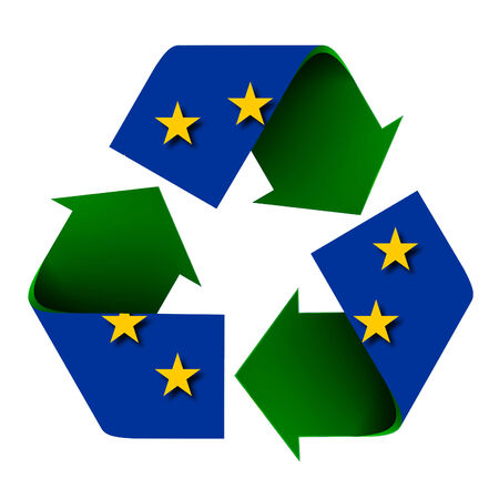 Flag of the European Union superimposed on a recycle symbol. Isolated on a white background.